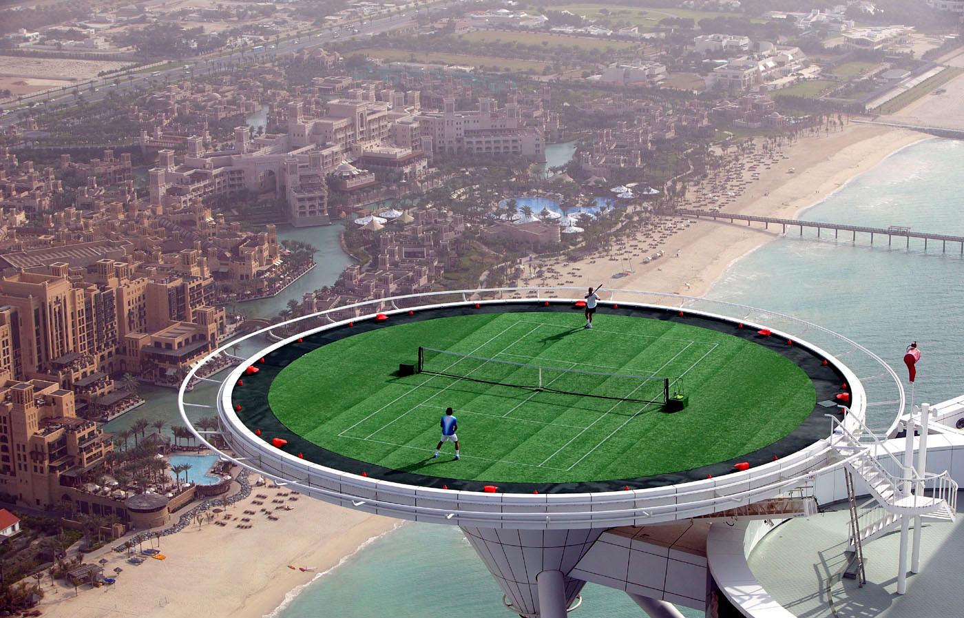 Dubai Duty Free Mens Open Agassi Federer helipad
